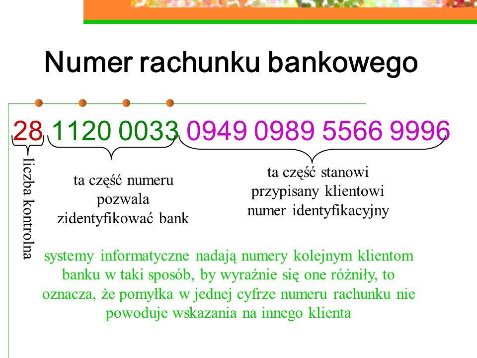 Numer rachunku bankowego 28 1120 0033 0949 0989 5566 9996 ta część numeru pozwala zidentyfikować bank ta część stanowi przypisany klientowi numer iden