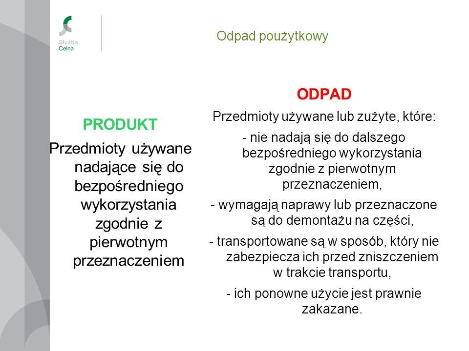 Odpad poużytkowy PRODUKT Przedmioty używane nadające się do bezpośredniego wykorzystania zgodnie z pierwotnym przeznaczeniem ODPAD Przedmioty używane