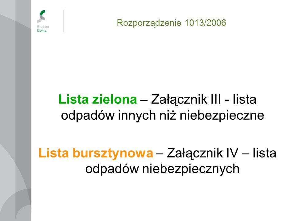 Rozporządzenie 1013/2006 Lista zielona – Załącznik III - lista odpadów innych niż niebezpieczne Lista bursztynowa – Załącznik IV – lista odpadów niebe