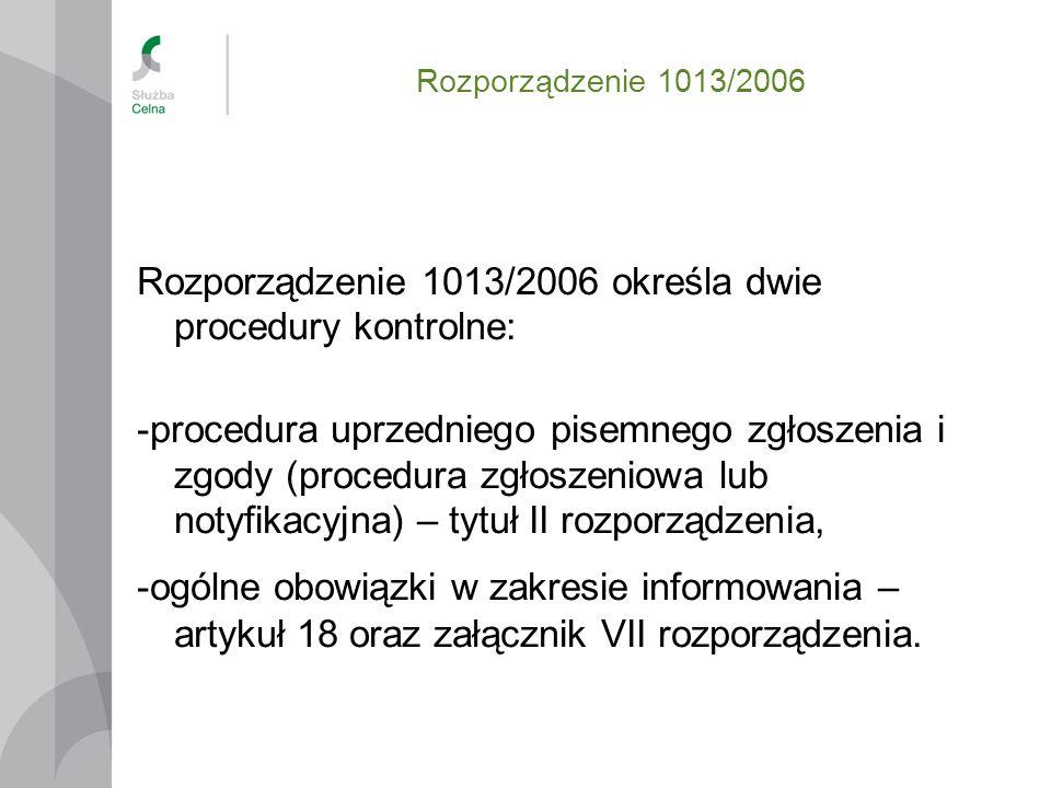 Rozporządzenie 1013/2006 Rozporządzenie 1013/2006 określa dwie procedury kontrolne: -procedura uprzedniego pisemnego zgłoszenia i zgody (procedura zgł