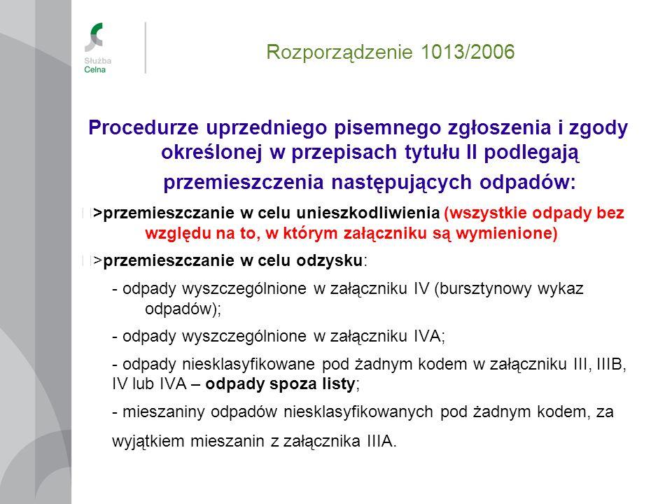 Rozporządzenie 1013/2006 Procedurze uprzedniego pisemnego zgłoszenia i zgody określonej w przepisach tytułu II podlegają przemieszczenia następujących