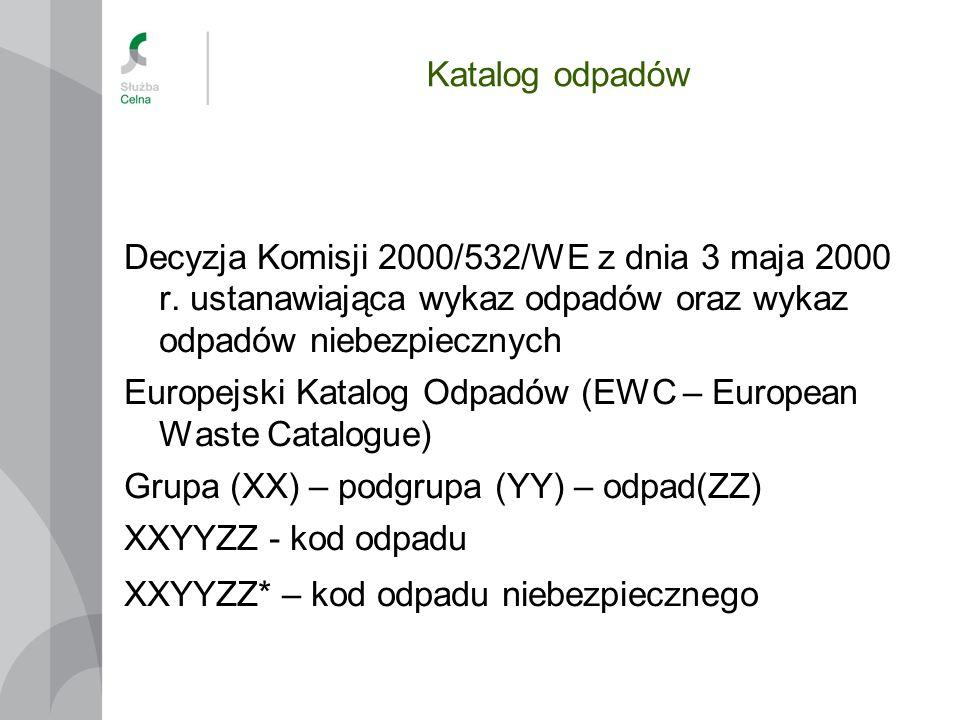 Katalog odpadów Decyzja Komisji 2000/532/WE z dnia 3 maja 2000 r. ustanawiająca wykaz odpadów oraz wykaz odpadów niebezpiecznych Europejski Katalog Od