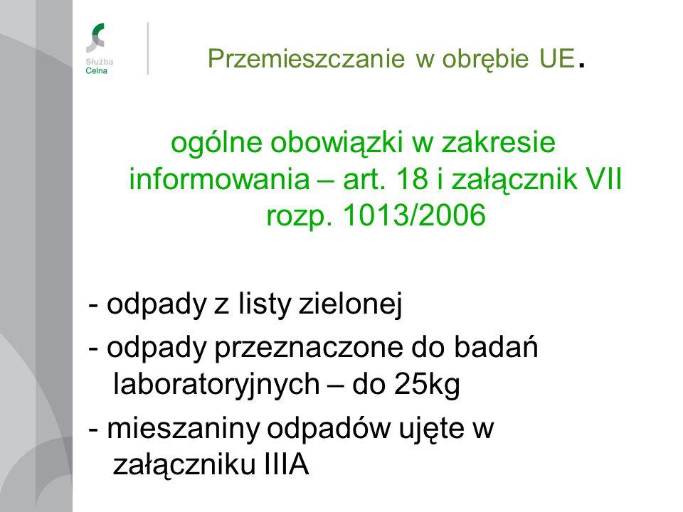 Przemieszczanie w obrębie UE. ogólne obowiązki w zakresie informowania – art. 18 i załącznik VII rozp. 1013/2006 - odpady z listy zielonej - odpady pr