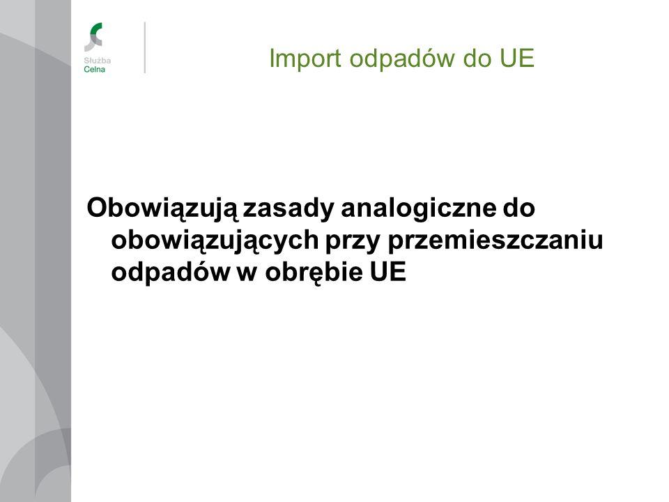 Import odpadów do UE Obowiązują zasady analogiczne do obowiązujących przy przemieszczaniu odpadów w obrębie UE