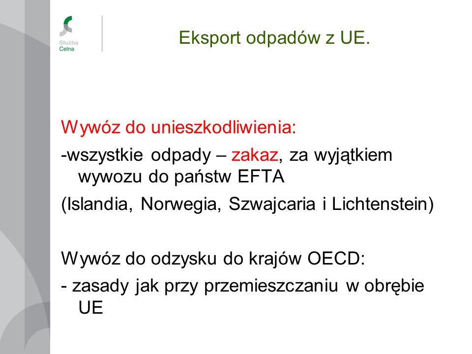 Eksport odpadów z UE. Wywóz do unieszkodliwienia: -wszystkie odpady – zakaz, za wyjątkiem wywozu do państw EFTA (Islandia, Norwegia, Szwajcaria i Lich