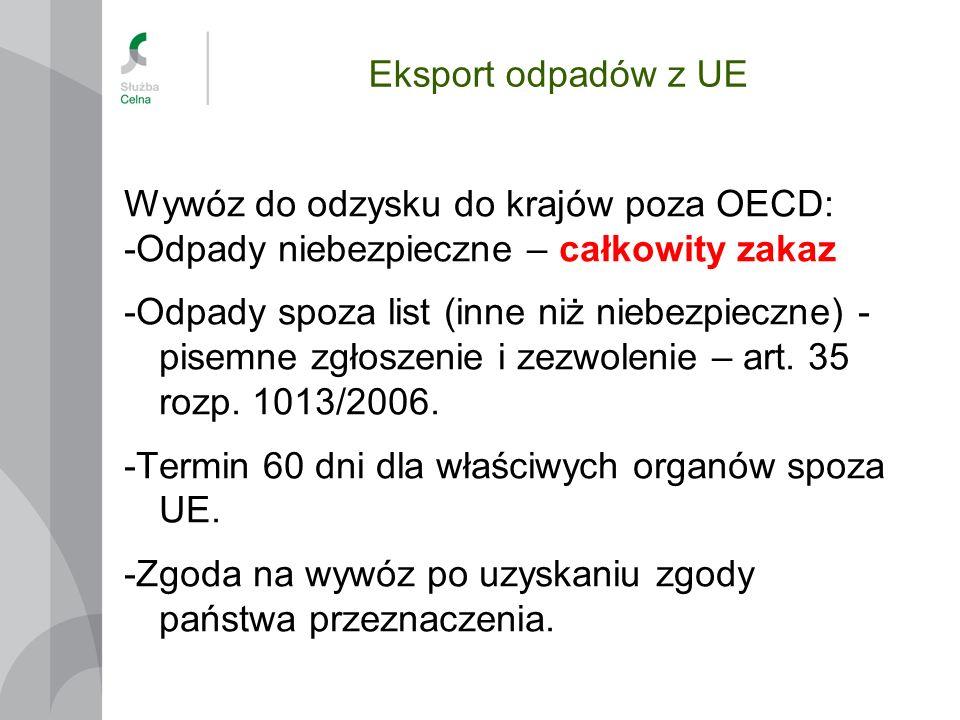 Eksport odpadów z UE Wywóz do odzysku do krajów poza OECD: -Odpady niebezpieczne – całkowity zakaz -Odpady spoza list (inne niż niebezpieczne) - pisem