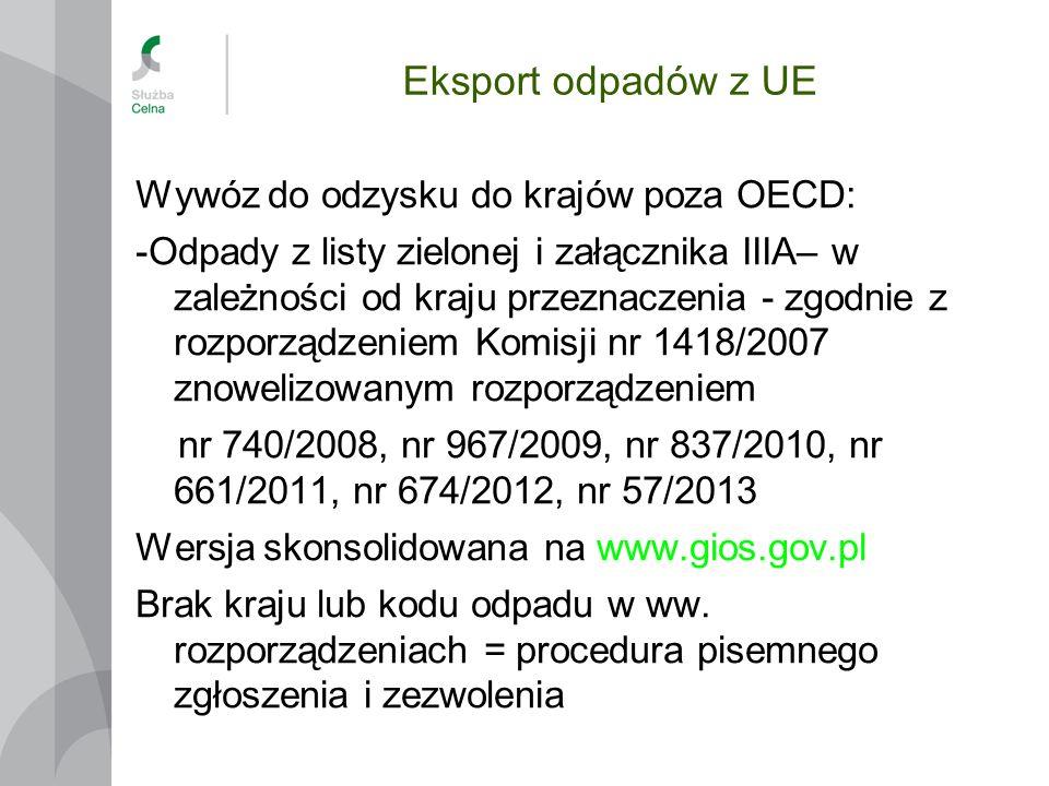 Eksport odpadów z UE Wywóz do odzysku do krajów poza OECD: -Odpady z listy zielonej i załącznika IIIA– w zależności od kraju przeznaczenia - zgodnie z