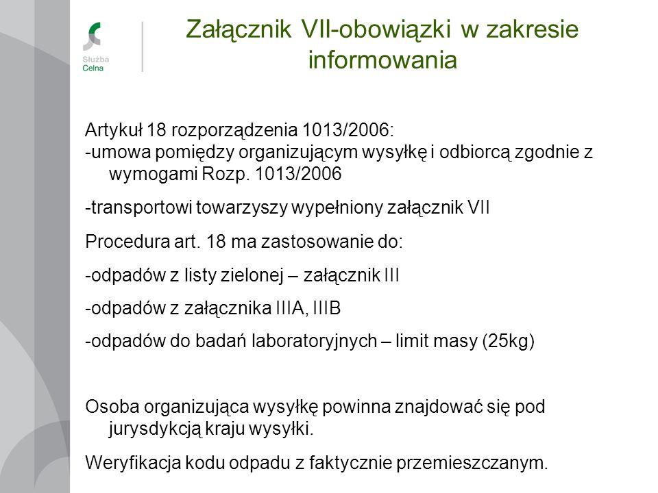 Załącznik VII-obowiązki w zakresie informowania Artykuł 18 rozporządzenia 1013/2006: -umowa pomiędzy organizującym wysyłkę i odbiorcą zgodnie z wymoga