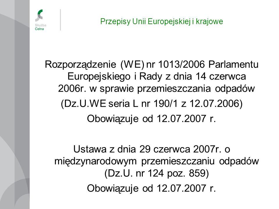 Rozporządzenie 1013/2006 Rozporządzenie PEiR nr 1013/2006 w sprawie przemieszczania odpadów Rozporządzenie ma zastosowanie do przemieszczeń odpadów: pomiędzy Państwami Członkowskimi UE, na terytorium Wspólnoty lub z tranzytem przez państwa trzecie; przywożonych do Wspólnoty z państw trzecich; wywożonych ze Wspólnoty do państw trzecich; przewożonych w ramach tranzytu przez terytorium Wspólnoty, na trasie z oraz do państw trzecich.