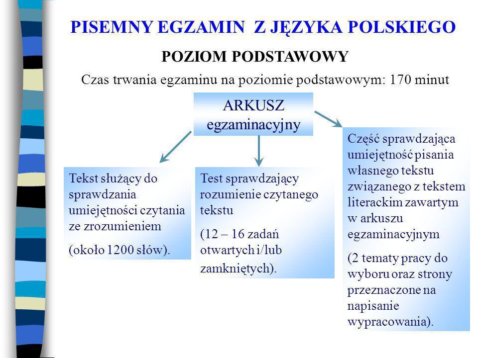 PISEMNY EGZAMIN Z JĘZYKA POLSKIEGO POZIOM PODSTAWOWY ARKUSZ egzaminacyjny Tekst służący do sprawdzania umiejętności czytania ze zrozumieniem (około 1200 słów).