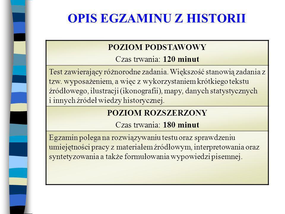 OPIS EGZAMINU Z HISTORII POZIOM PODSTAWOWY Czas trwania: 120 minut Test zawierający różnorodne zadania.