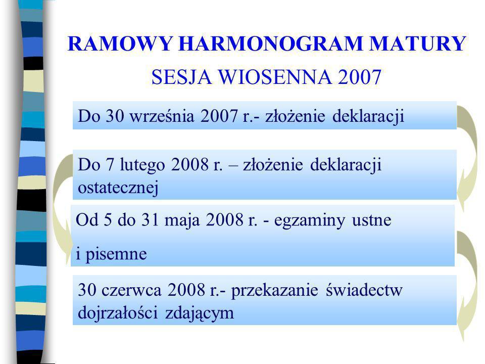 RAMOWY HARMONOGRAM MATURY SESJA WIOSENNA 2007 Do 30 września 2007 r.- złożenie deklaracji 30 czerwca 2008 r.- przekazanie świadectw dojrzałości zdającym Od 5 do 31 maja 2008 r.