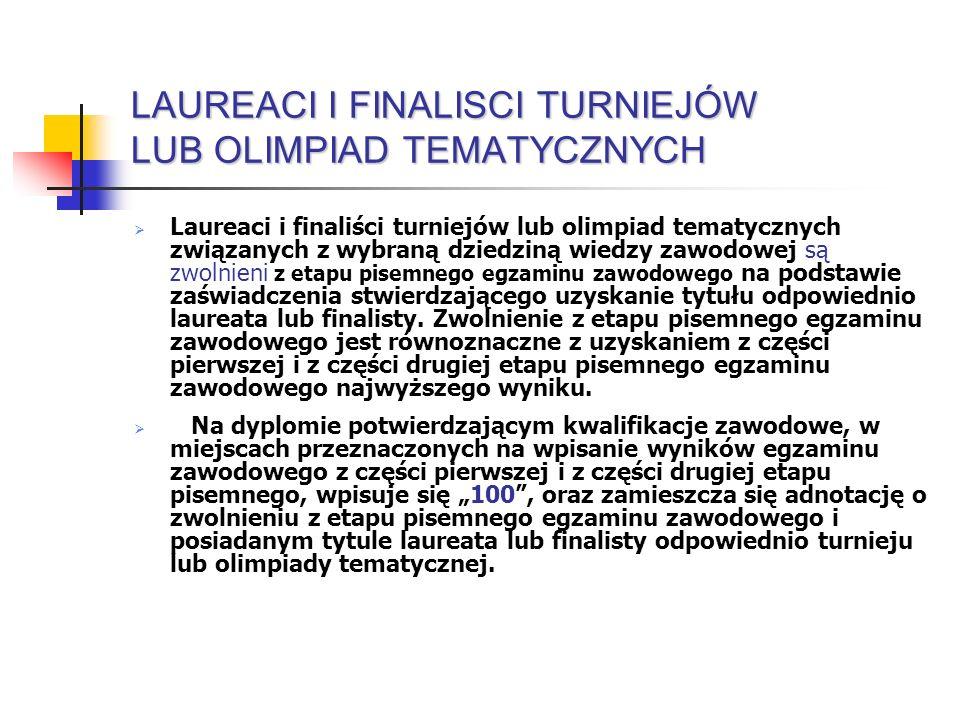 LAUREACI I FINALISCI TURNIEJÓW LUB OLIMPIAD TEMATYCZNYCH Laureaci i finaliści turniejów lub olimpiad tematycznych związanych z wybraną dziedziną wiedz