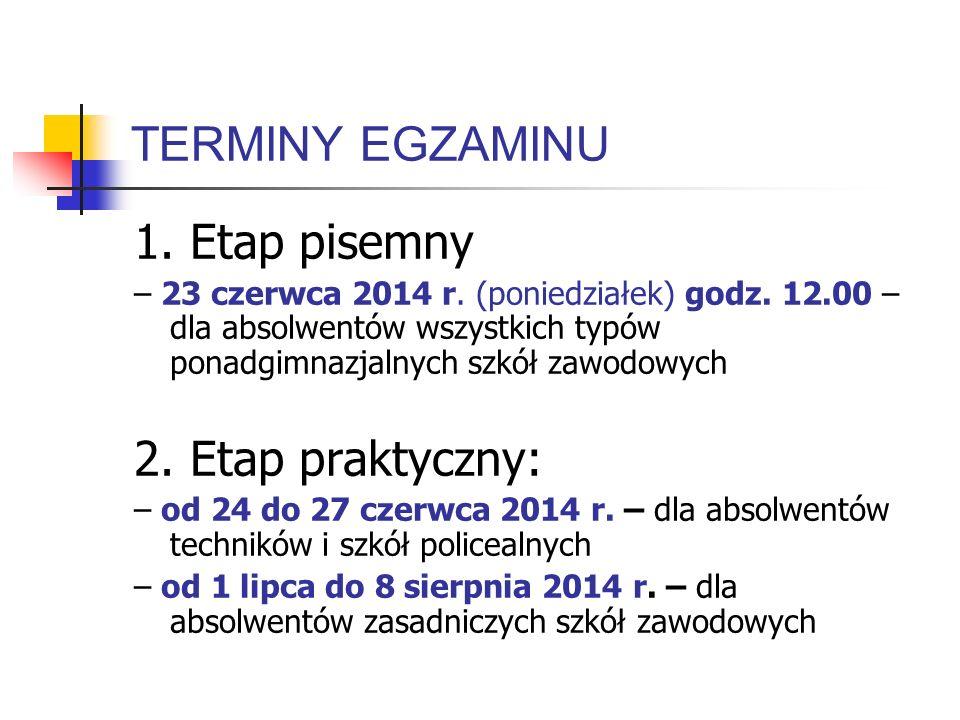 TERMINY EGZAMINU 1. Etap pisemny – 23 czerwca 2014 r. (poniedziałek) godz. 12.00 – dla absolwentów wszystkich typów ponadgimnazjalnych szkół zawodowyc