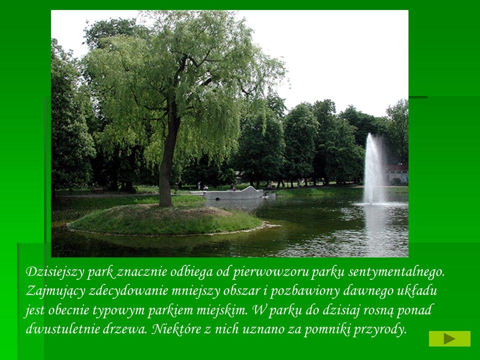 Dzisiejszy park znacznie odbiega od pierwowzoru parku sentymentalnego. Zajmujący zdecydowanie mniejszy obszar i pozbawiony dawnego układu jest obecnie