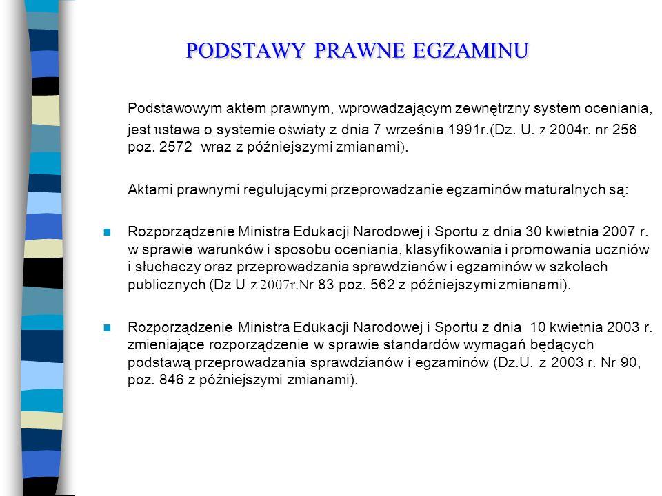 PODSTAWY PRAWNE EGZAMINU Podstawowym aktem prawnym, wprowadzającym zewnętrzny system oceniania, jest u stawa o systemie o ś wiaty z dnia 7 września 1991r.(Dz.