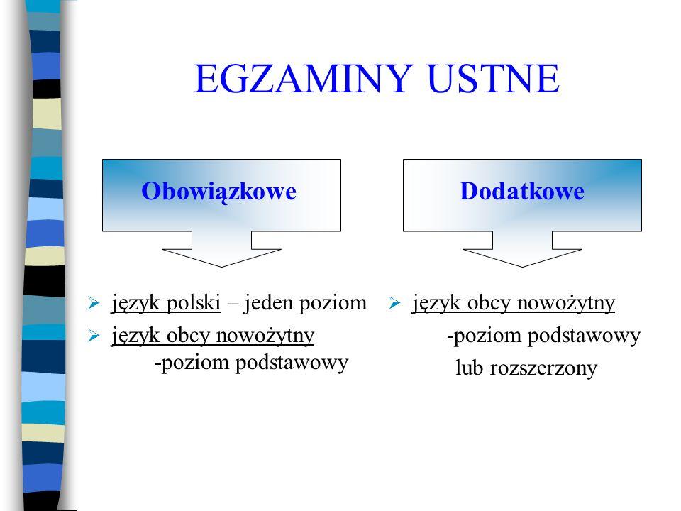EGZAMINY USTNE język polski – jeden poziom język obcy nowożytny -poziom podstawowy język obcy nowożytny -poziom podstawowy lub rozszerzony DodatkoweOb