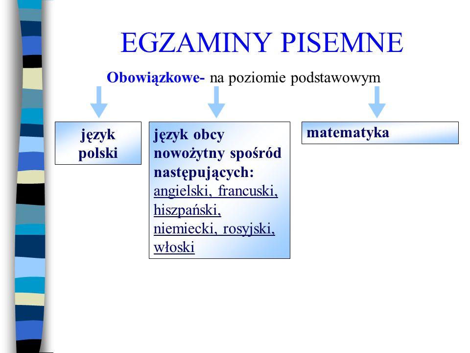 EGZAMINY PISEMNE Obowiązkowe- na poziomie podstawowym język polski język obcy nowożytny spośród następujących: angielski, francuski, hiszpański, niemiecki, rosyjski, włoski matematyka