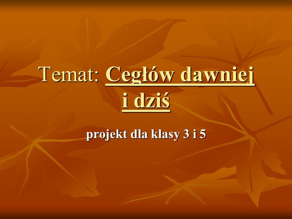 Cele: Uczeń: Uczeń: Poznaje podstawowe wiadomości na temat przeszłości i teraźniejszości Cegłowa.