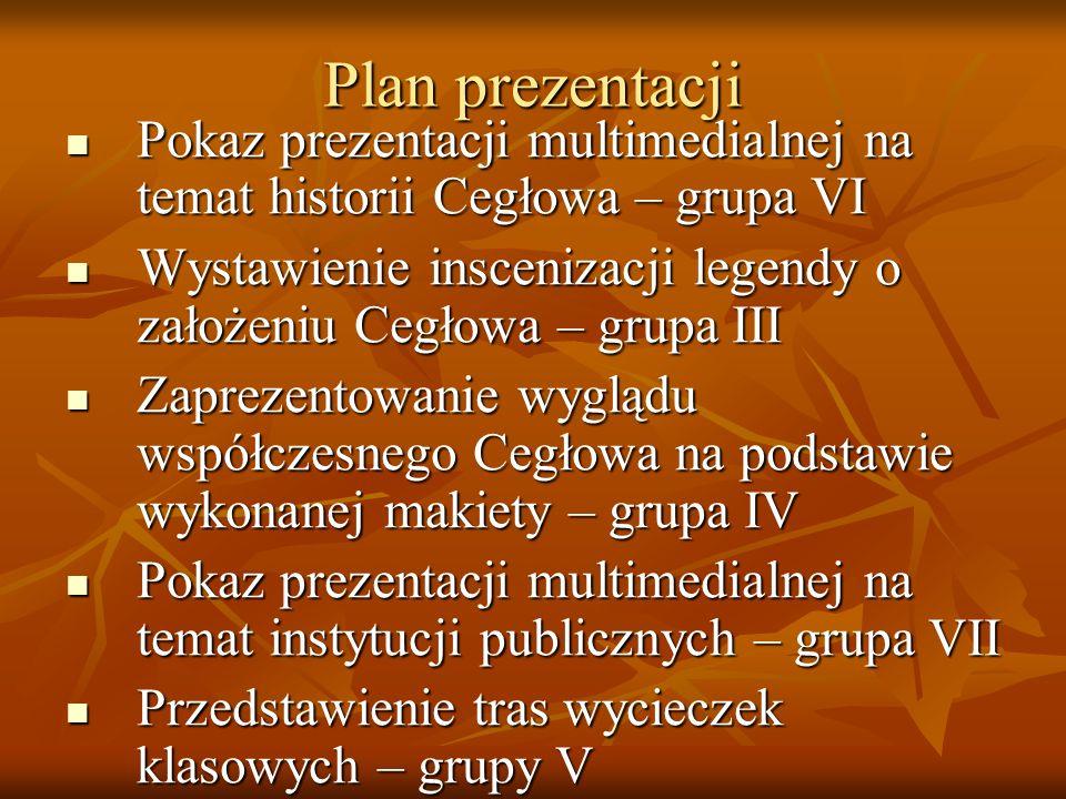 Plan prezentacji Pokaz prezentacji multimedialnej na temat historii Cegłowa – grupa VI Pokaz prezentacji multimedialnej na temat historii Cegłowa – gr