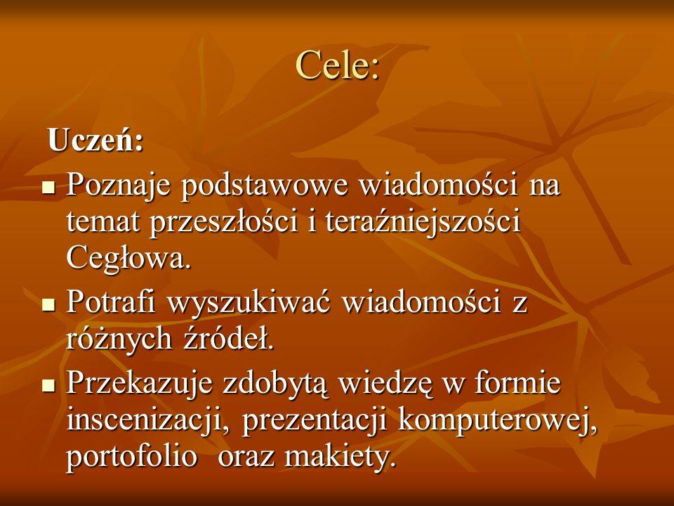 Cele: Uczeń: Uczeń: Poznaje podstawowe wiadomości na temat przeszłości i teraźniejszości Cegłowa. Poznaje podstawowe wiadomości na temat przeszłości i