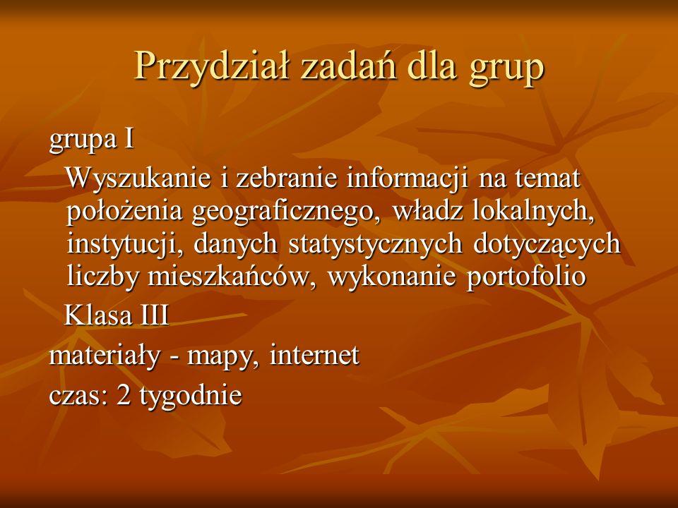 Przydział zadań dla grup grupa I grupa I Wyszukanie i zebranie informacji na temat położenia geograficznego, władz lokalnych, instytucji, danych staty