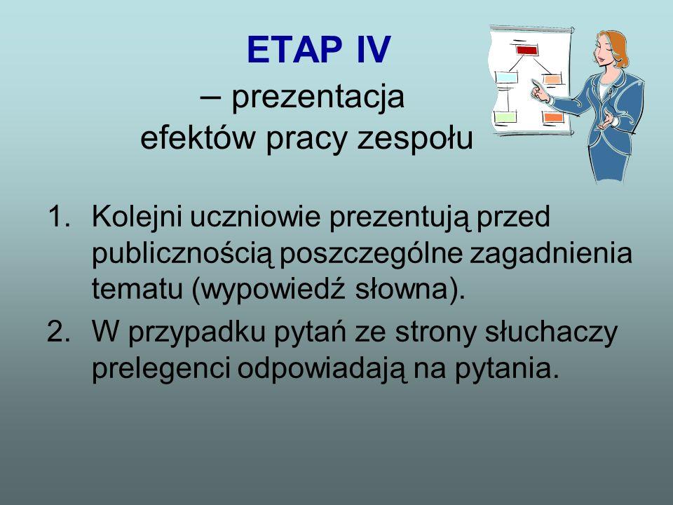 ETAP IV – prezentacja efektów pracy zespołu 1.Kolejni uczniowie prezentują przed publicznością poszczególne zagadnienia tematu (wypowiedź słowna). 2.W