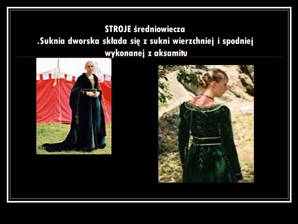 SUKNIA DWORSKA IV-wieczna suknia wierzchnia z obniżonym stanem, podkreślonym paskiem z łączonych złotych kółek.