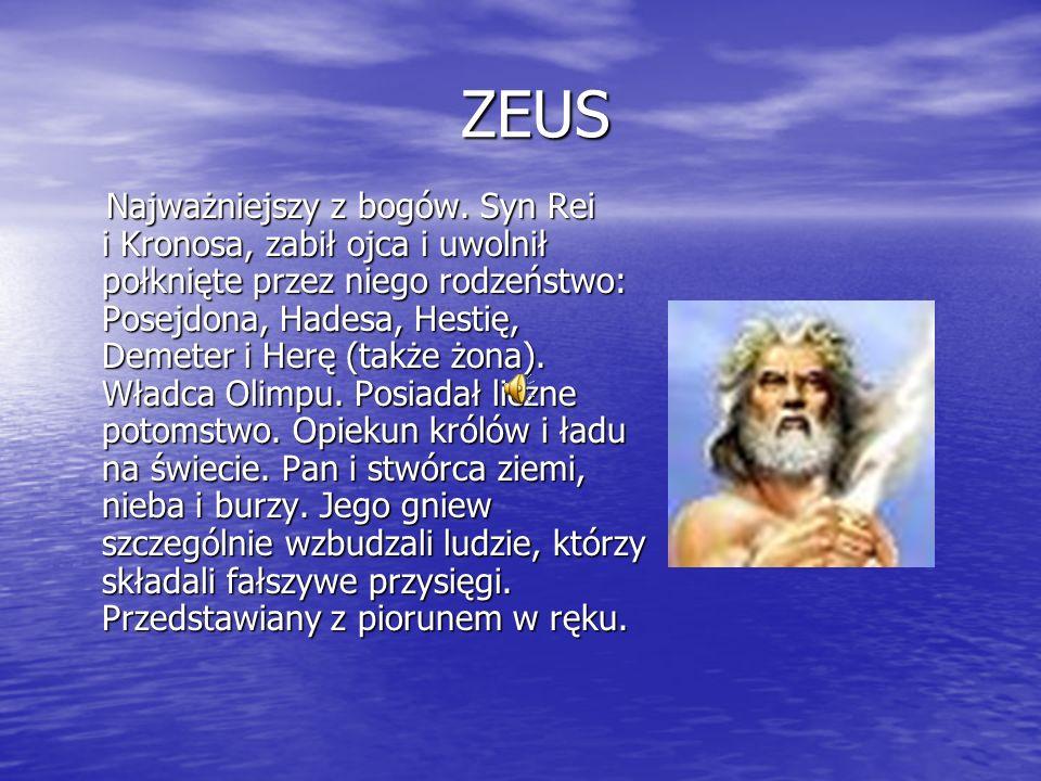 ZEUS ZEUS Najważniejszy z bogów.