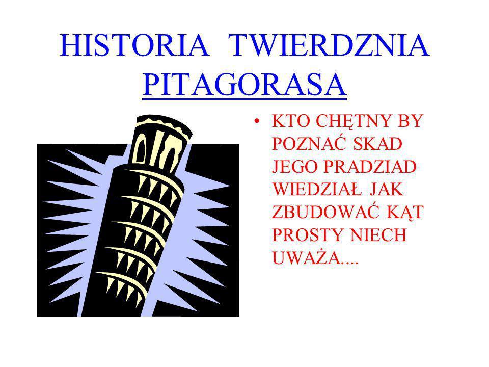 HISTORIA TWIERDZNIA PITAGORASA KTO CHĘTNY BY POZNAĆ SKAD JEGO PRADZIAD WIEDZIAŁ JAK ZBUDOWAĆ KĄT PROSTY NIECH UWAŻA....