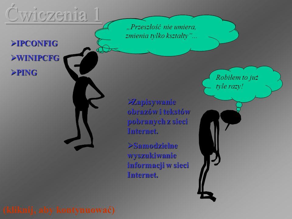IPCONFIG IPCONFIG WINIPCFG WINIPCFG PING PING Zapisywanie obrazów i tekstów pobranych z sieci Internet.