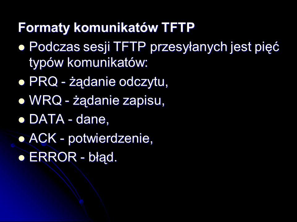 Formaty komunikatów TFTP Podczas sesji TFTP przesyłanych jest pięć typów komunikatów: Podczas sesji TFTP przesyłanych jest pięć typów komunikatów: PRQ