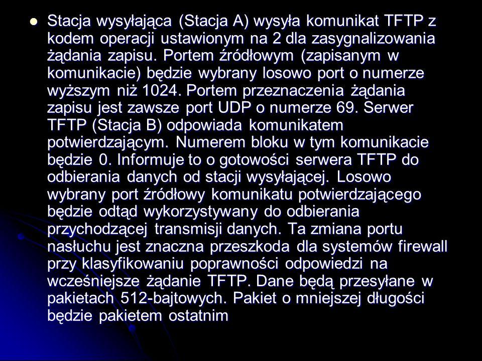 Stacja wysyłająca (Stacja A) wysyła komunikat TFTP z kodem operacji ustawionym na 2 dla zasygnalizowania żądania zapisu. Portem źródłowym (zapisanym w