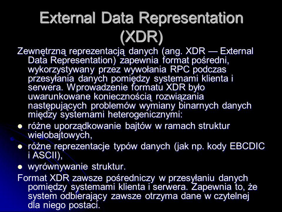 External Data Representation (XDR) Zewnętrzną reprezentacją danych (ang. XDR External Data Representation) zapewnia format pośredni, wykorzystywany pr