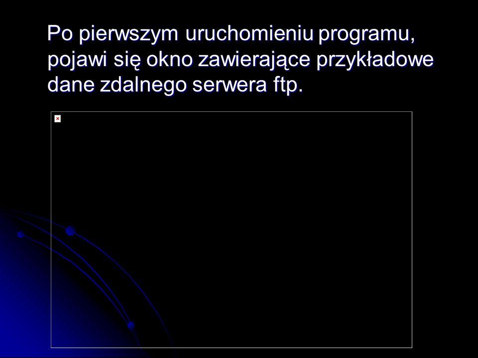 Po pierwszym uruchomieniu programu, pojawi się okno zawierające przykładowe dane zdalnego serwera ftp. Po pierwszym uruchomieniu programu, pojawi się