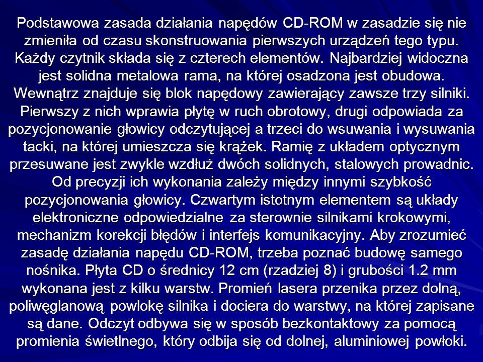 Podstawowa zasada działania napędów CD-ROM w zasadzie się nie zmieniła od czasu skonstruowania pierwszych urządzeń tego typu. Każdy czytnik składa się