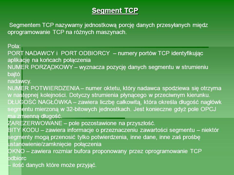 Segment TCP Segmentem TCP nazywamy jednostkową porcję danych przesyłanych międz oprogramowanie TCP na różnych maszynach.