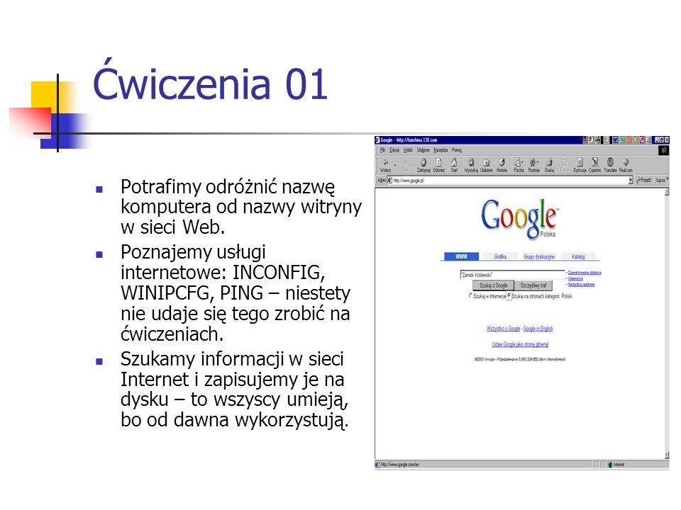 Ćwiczenia 01 Potrafimy odróżnić nazwę komputera od nazwy witryny w sieci Web. Poznajemy usługi internetowe: INCONFIG, WINIPCFG, PING – niestety nie ud