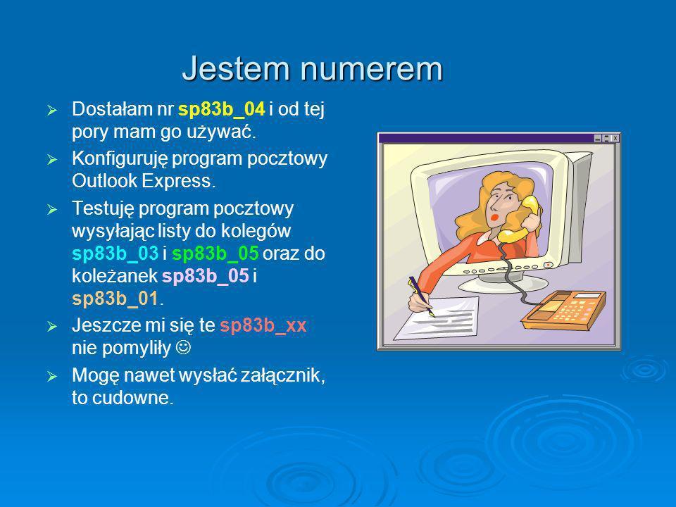Jestem numerem Dostałam nr sp83b_04 i od tej pory mam go używać. Konfiguruję program pocztowy Outlook Express. Testuję program pocztowy wysyłając list