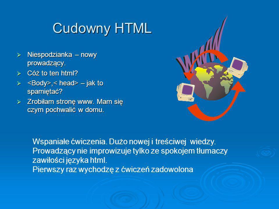 Cudowny HTML Niespodzianka – nowy prowadzący. Niespodzianka – nowy prowadzący. Cóż to ten html? Cóż to ten html?, – jak to spamiętać?, – jak to spamię