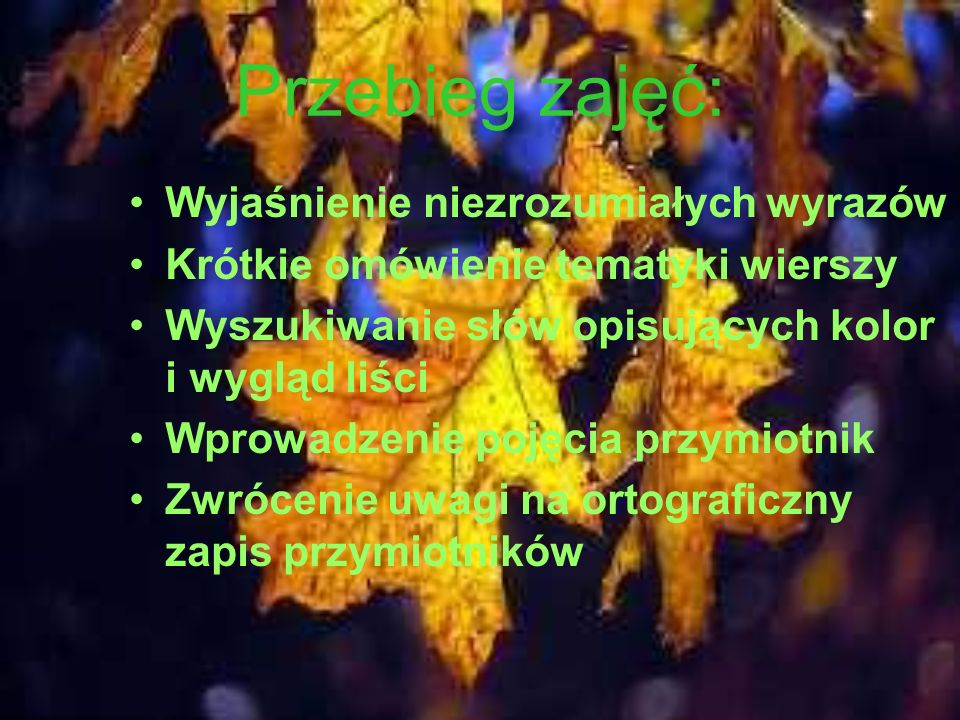 Przebieg zajęć: Wyjaśnienie niezrozumiałych wyrazów Krótkie omówienie tematyki wierszy Wyszukiwanie słów opisujących kolor i wygląd liści Wprowadzenie pojęcia przymiotnik Zwrócenie uwagi na ortograficzny zapis przymiotników