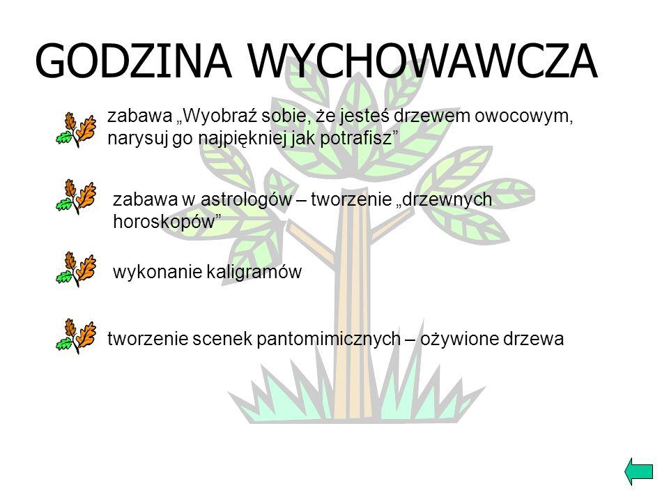 JĘZYK POLSKI symbolika drzewa (mapa mentalna, kaligramy) przysłowia, cytaty tworzenie różnych form wypowiedzi pisemnej zapoznanie z tekstem Jana Kocha