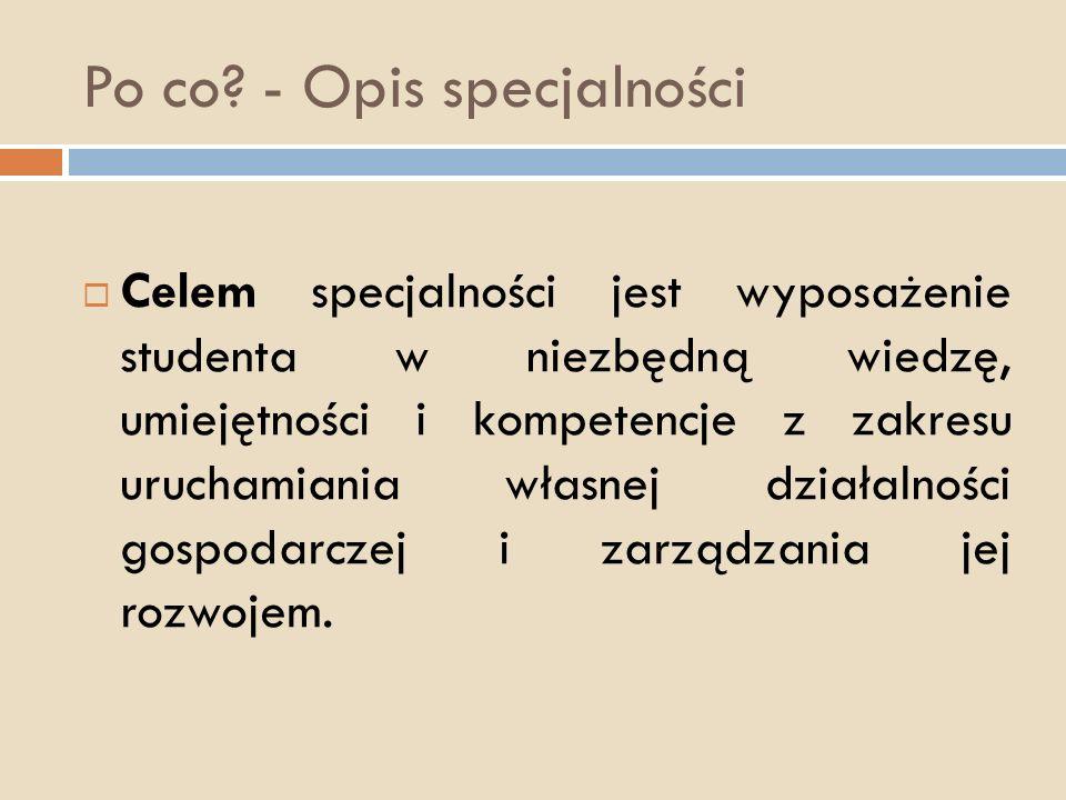 Po co? - Opis specjalności Celem specjalności jest wyposażenie studenta w niezbędną wiedzę, umiejętności i kompetencje z zakresu uruchamiania własnej