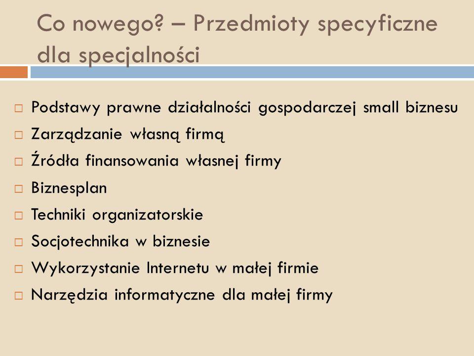 Co nowego? – Przedmioty specyficzne dla specjalności Podstawy prawne działalności gospodarczej small biznesu Zarządzanie własną firmą Źródła finansowa