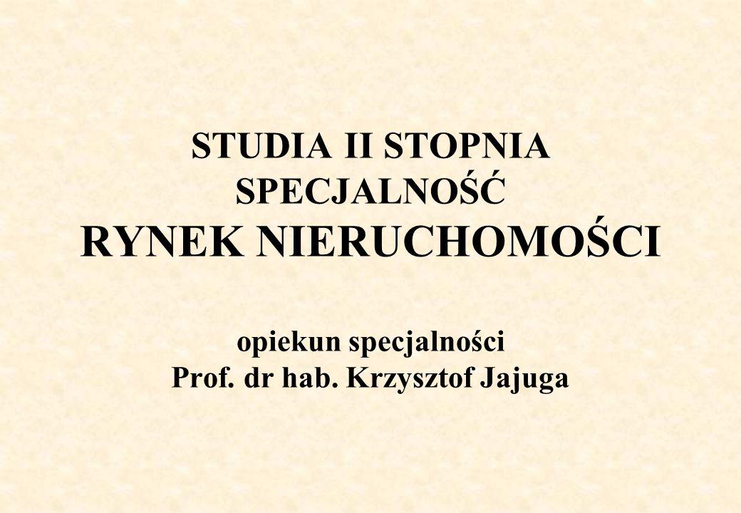 STUDIA II STOPNIA SPECJALNOŚĆ RYNEK NIERUCHOMOŚCI opiekun specjalności Prof. dr hab. Krzysztof Jajuga