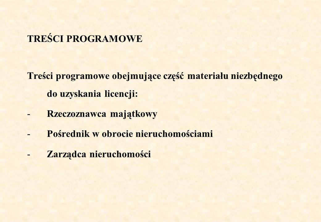 TREŚCI PROGRAMOWE Treści programowe obejmujące część materiału niezbędnego do uzyskania licencji: -Rzeczoznawca majątkowy -Pośrednik w obrocie nieruch