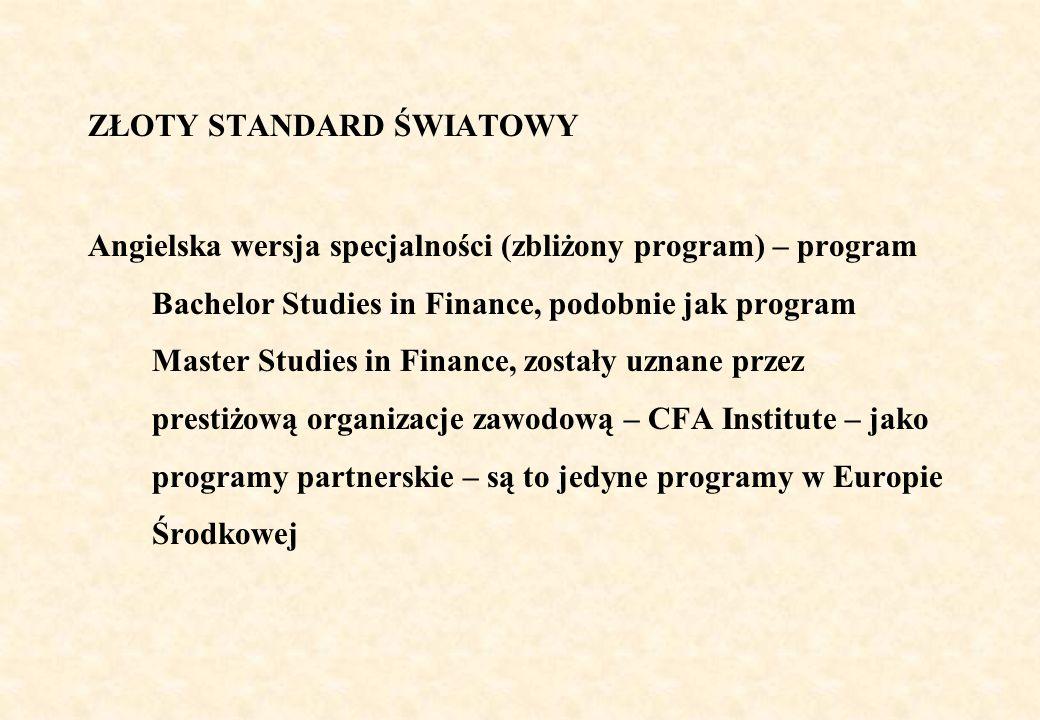 WALORY SPECJALNOŚCI Najbardziej aktualne treści programowe, dotyczące wydarzeń na świecie (w tym na rynkach finansowych) Z uwagi na treści programowe spełniające standardy światowe możliwość bezproblemowego kontynuowania studiów w dobrych uczelniach zagranicznych Łatwość uzyskania międzynarodowych certyfikatów