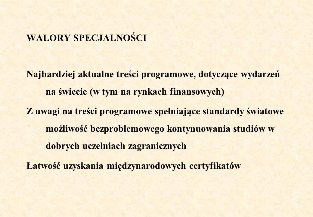 WALORY SPECJALNOŚCI Uniwersalna, szeroka i zaawansowana specjalność, po której łatwo jest studiować inne specjalności kierunku Finanse i rachunkowość (odwrotna zależność niekoniecznie jest spełniona) Łatwość kontynuacji na studiach II stopnia w języku polskim, zwłaszcza na specjalnościach: Analityka finansowa i zarządzanie ryzykiem, Menedżer finansowy, Doradca finansowy, Rynek nieruchomości