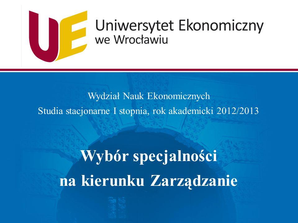 Wydział Nauk Ekonomicznych Studia stacjonarne I stopnia, rok akademicki 2012/2013 Wybór specjalności na kierunku Zarządzanie