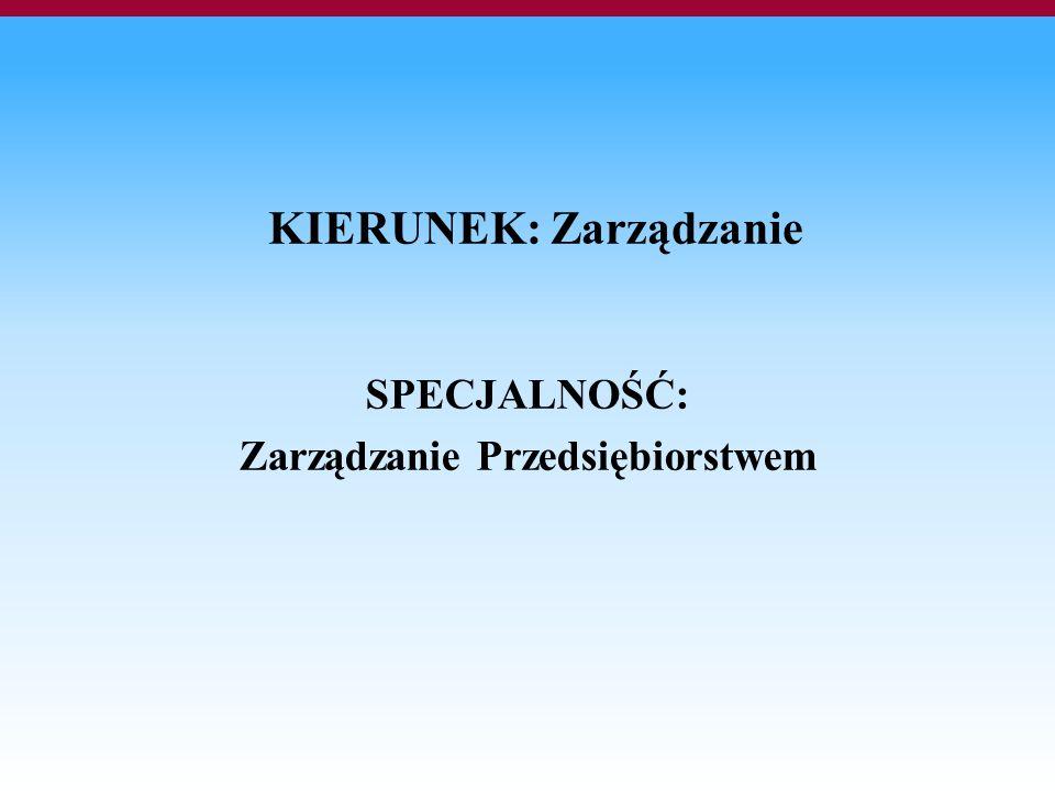 KIERUNEK: Zarządzanie SPECJALNOŚĆ: Zarządzanie Przedsiębiorstwem